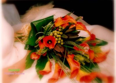 Ramo de novia vegetativo con cala holandesa mango