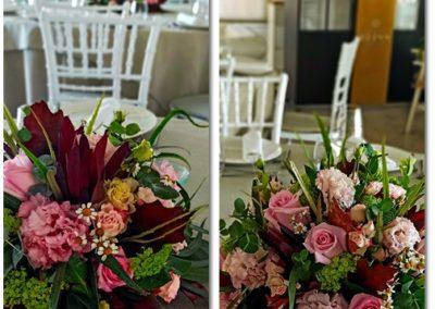 Centros florales románticos para mesas en Club Palasiet