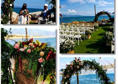Decoración ceremonia en Nudo Beach con medio arco de flores
