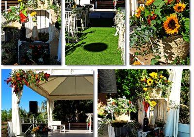 Decoración floral rústica para boda civil con girasoles en Club Palasiet
