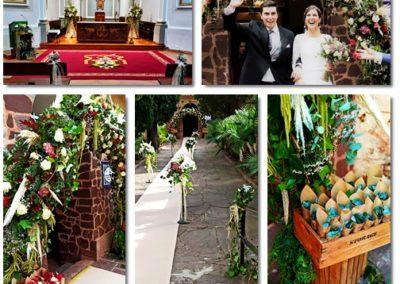 Boda con arreglos florales vintage en monasterio Desierto de las Palmas