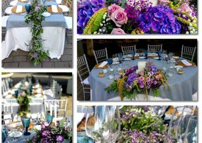 Guirnaldas y arreglos de flor para mesas en Mas del Pi